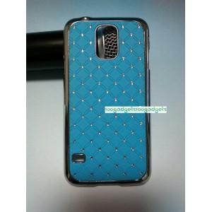 Пластиковый чехол со стразами для Samsung Galaxy S5 Mini Голубой