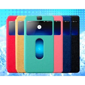 Чехол флип подставка текстурный на пластиковой основе с окном вызова и свайпом для ZTE Nubia Z7 Mini