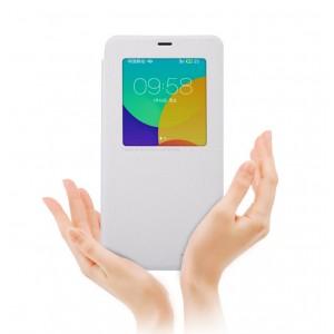 Чехол смарт флип на пластиковой антискользящей основе с окном вызова для Meizu M1 Note Белый