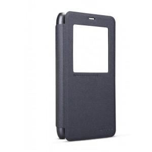 Чехол смарт флип на пластиковой антискользящей основе с окном вызова для Meizu M1 Note Черный