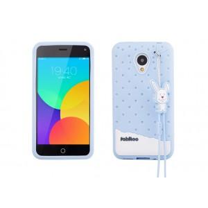 Силиконовый антиударный дизайнерский фигурный чехол для Meizu M1 Note Голубой
