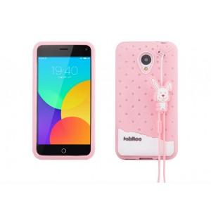 Силиконовый антиударный дизайнерский фигурный чехол для Meizu M1 Note Розовый