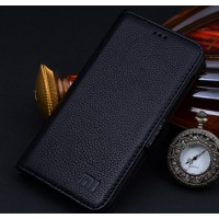 Кожаный чехол портмоне (нат. кожа) для Xiaomi RedMi 2 Черный
