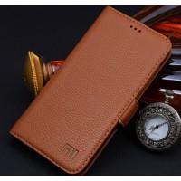 Кожаный чехол портмоне (нат. кожа) для Xiaomi RedMi 2 Коричневый