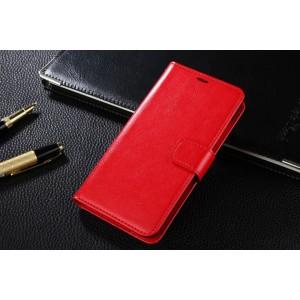 Чехол портмоне подставка на пластиковой основе с защелкой для Xiaomi RedMi 2 Красный