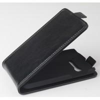 Чехол вертикальная книжка на пластиковой основе с магнитной застежкой для Alcatel One Touch Pop C5 Черный