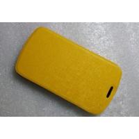 Чехол флип подставка текстурный на пластиковой основе для Alcatel One Touch Pop C5 Желтый