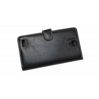 Чехол портмоне подставка с защёлкой (нат. кожа) для Xiaomi RedMi Note Черный