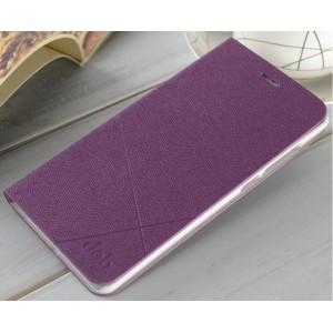 Текстурный флип чехол на пластиковой основе для Xiaomi Mi Note Фиолетовый
