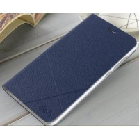 Текстурный флип чехол на пластиковой основе для Xiaomi Mi Note Синий