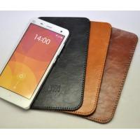 Кожаный вощеный мешок с логотипом гаджета для Xiaomi Mi Note Черный