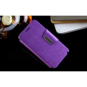 Текстурный чехол флип с дизайнерской застежкой для Lenovo A319 Фиолетовый