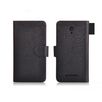 Чехол флип подставка на пластиковой основе с магнитной застежкой текстура Дерево для Alcatel One Touch Pop S9