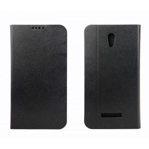 Чехол флип подставка текстурный на пластиковой основе с отделением для карт для Alcatel One Touch Pop S7 Черный