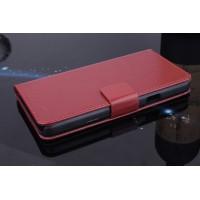 Чехол портмоне подставка на пластиковой основе с магнитной защелкой для Explay Fresh Коричневый