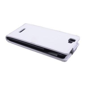 Чехол вертикальная книжка на пластиковой основе с магнитной застежкой для Explay Fresh Белый