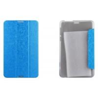 Чехол флип подставка сегментарный текстурный на пластиковой полупрозрачной основе для Asus FonePad 8 Голубой
