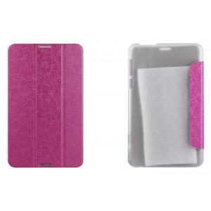 Чехол флип подставка сегментарный текстурный на пластиковой полупрозрачной основе для Asus FonePad 8 Розовый