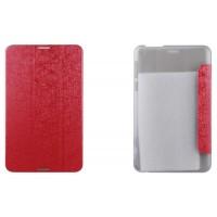 Чехол флип подставка сегментарный текстурный на пластиковой полупрозрачной основе для Asus FonePad 8 Красный