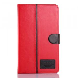 Чехол флип подставка на силиконовой основе с отделениями для карт и магнитной застежкой для планшета Asus FonePad 8 Красный