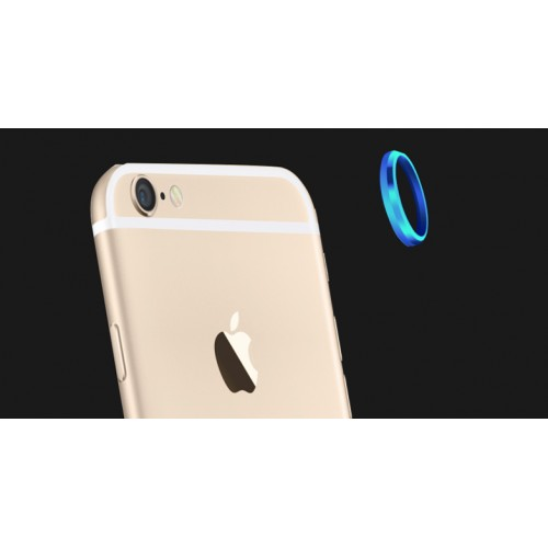 Металлическое защитное кольцо-накладка на объектив камеры для Iphone 6 Plus Голубой