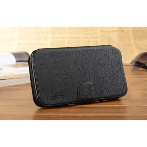 Текстурный клеевой чехол флип подставка с магнитной защелкой для Alcatel One Touch Hero 2 Черный