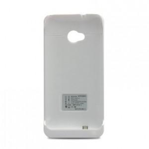 Пластиковый чехол/экстра аккумулятор (4200 мАч) с подставкой для HTC One (M7) Dual SIM Белый