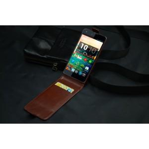 Чехол вертикальная книжка на клеевой основе с магнитной застежкой для Highscreen Omega Prime S Коричневый