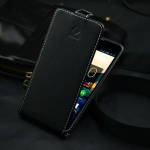Чехол вертикальная книжка на клеевой основе с магнитной застежкой для Highscreen Omega Prime S Черный