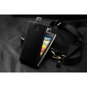 Чехол вертикальная книжка на клеевой основе с магнитной застежкой для Highscreen Zera S rev. S Черный