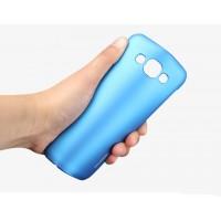 Пластиковый матовый металлик чехол для Samsung Galaxy E5 Голубой