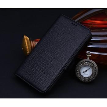Кожаный чехол портмоне (нат. кожа крокодила) подставка на пластиковой основе для Samsung Galaxy E5