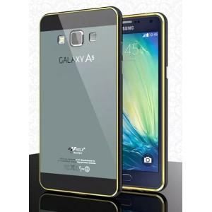 Двухкомпонентный чехол с металлическим бампером и двухцветной поликарбонатной крышкой и золотой окантовкой для Samsung Galaxy A5