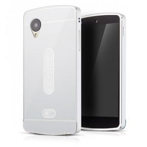 Двухкомпонентный чехол с металлическим бампером и поликарбонатной накладкой для Google LG Nexus 5 Белый