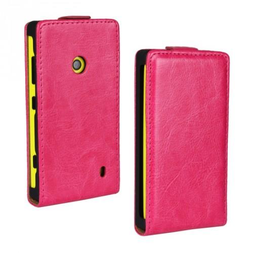 Глянцевый чехол вертикальная книжка на пластиковой основе с застежкой для Nokia Lumia 520