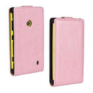 Глянцевый чехол вертикальная книжка на пластиковой основе с застежкой для Nokia Lumia 520 Розовый