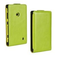 Глянцевый чехол вертикальная книжка на пластиковой основе с застежкой для Nokia Lumia 520 Зеленый