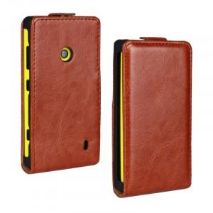 Глянцевый чехол вертикальная книжка на пластиковой основе с застежкой для Nokia Lumia 520 Коричневый
