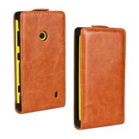 Глянцевый чехол вертикальная книжка на пластиковой основе с застежкой для Nokia Lumia 520 Оранжевый