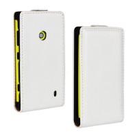 Глянцевый чехол вертикальная книжка на пластиковой основе с застежкой для Nokia Lumia 520 Белый