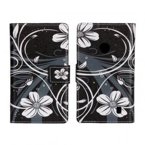 Текстурный чехол флип с дизайнерской застежкой для Nokia Lumia 520 Черный