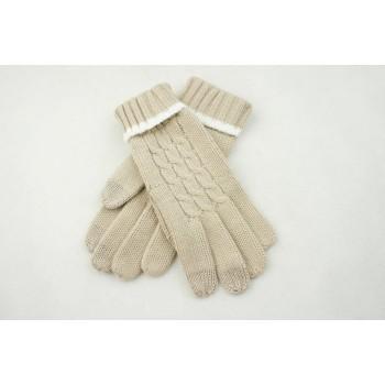 Зимние вязаные шерстяные сенсорные (трехпальцевые) женские перчатки дизайн Коса