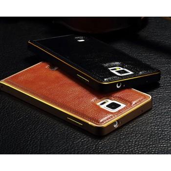 Двухкомпонентный гибридный чехол с металлическим бампером и кожаной крышкой для Samsung Galaxy S5 (Duos)