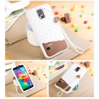 Силиконовый дизайнерский фигурный чехол с шнурком для Samsung Galaxy S5 (Duos) Белый