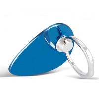 Глянцевое металлическое антиграбежное клеевое кольцо-подставка для одноручного управления гаджетом Синий