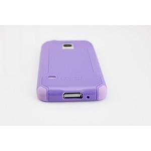 Двухкомпонентный нескользящий силиконовый чехол повышенной степени защиты для Samsung Galaxy S5 Mini Фиолетовый