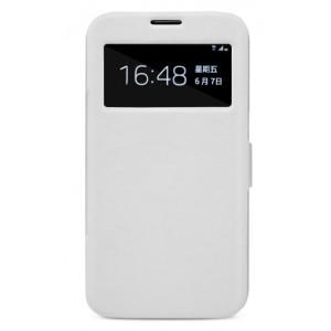 Чехол флип с окном вызова и магнитной застежкой для Samsung Galaxy Mega 6.3 Белый