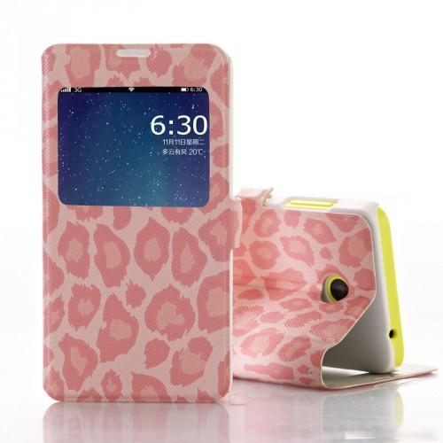 Принтованный чехол флип на пластиковой основе с окном вызова для Nokia Lumia 630