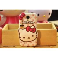 Силиконовый дизайнерский фигурный чехол серия Hello Kitty для Samsung Galaxy S4 Mini Белый