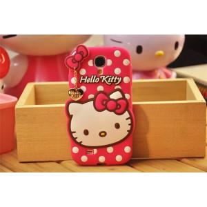 Силиконовый дизайнерский фигурный чехол серия Hello Kitty для Samsung Galaxy S4 Mini Пурпурный